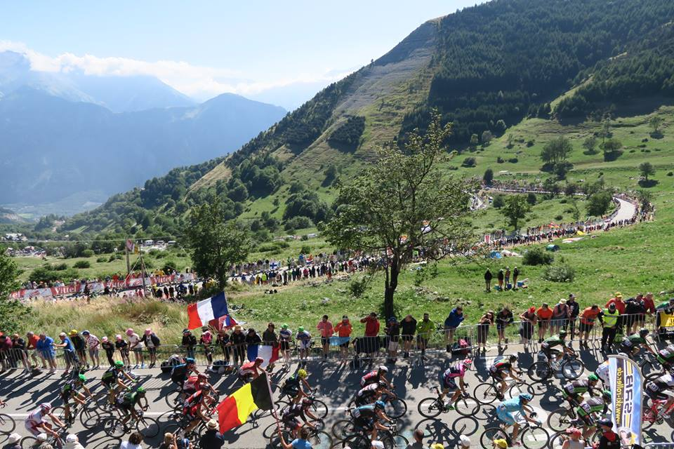 Crowds watching the Tour de France cycle Alp d'Huez